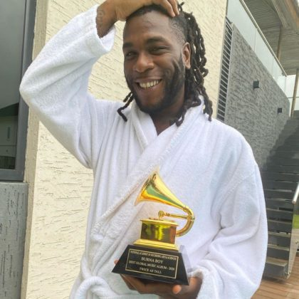 """""""Early Morning Deliveries"""" - Burna Boy Finally Receives Grammy Plaque"""
