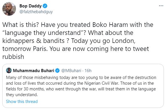 Falz responds to President Buhari