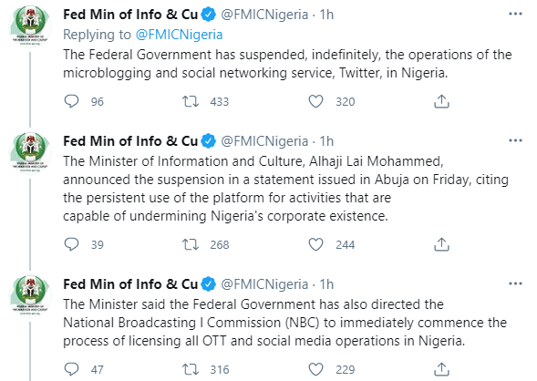 Breaking News: The Federal Government of Nigeria bans Twitter Operations in its Jurisdiction