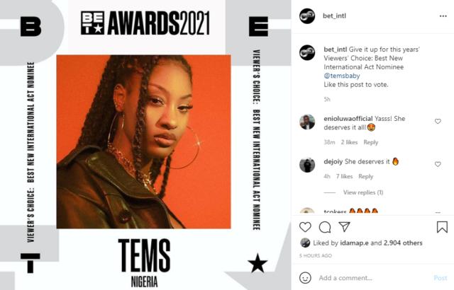 Tems BET Awards Best New International Act