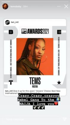 Tems grab BET awards nomination