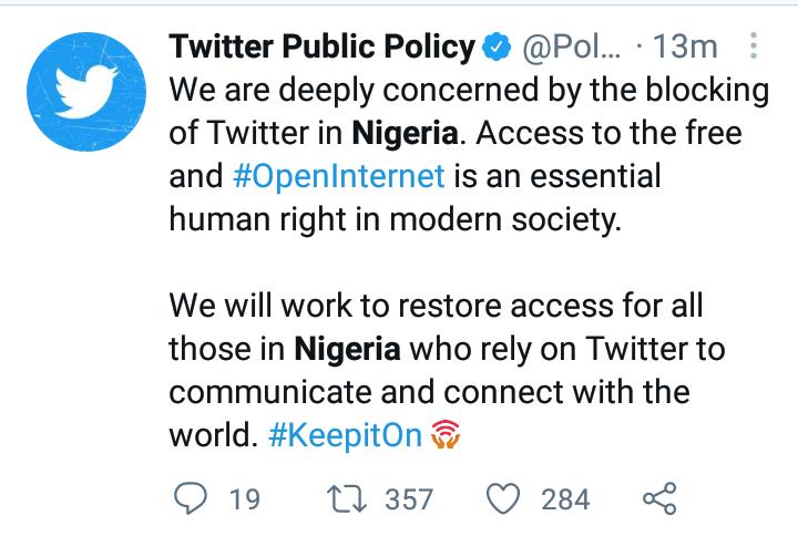 Twitter reaction to Nigeria's suspension