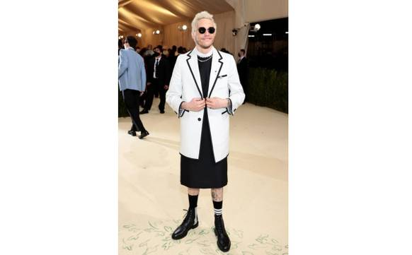 Sharon Stone, Lee Pace & Pete Davidson in Thom Browne, courtesy of the brand